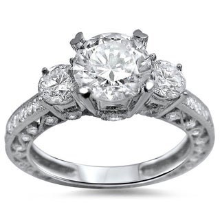 Noori 18k White Gold 1 3/4 ct TDW 3-stone Round Diamond Engagement Ring