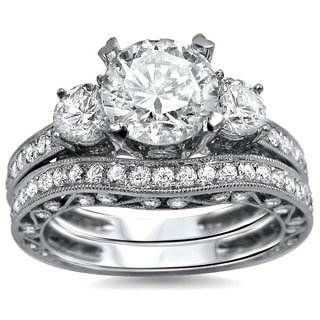 Noori 18k White Gold 2 1/4 ct TDW Round Diamond 3-stone Engagement Ring Bridal Set