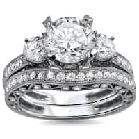 Noori 18k White Gold 2 1/4 ct TDW Round Diamond 3-stone Engagement Ring Bridal Set