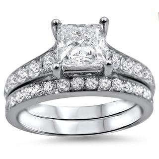 Noori 14k White Gold 1 3/4ct TDW Princess-cut Diamond Bridal Set