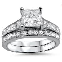 Noori 14k White Gold 1 3/4ct TDW Princess-cut Diamond Bridal Set