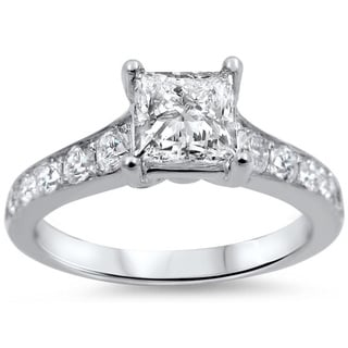 Noori 14k White Gold 1 1/4ct TDW Princess-cut Diamond Engagement Ring