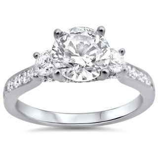Noori 18k White Gold 1 1/3ct TDW Round Diamond Engagement Ring