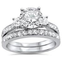 Noori 18k White Gold 2ct TDW Round Diamond Bridal Set