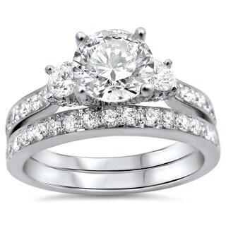 Noori 18k Gold 1 3/4ct TDW Round 3-stone Diamond Bridal Set