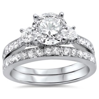 Noori 18k Gold Enhanced 1 3/4ct TDW Round 3-stone Diamond Bridal Set