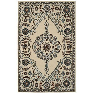 Paragon Ivory/ Blue Wool Rug (3'6 x 5'6)