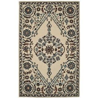 Paragon Ivory/ Grey Wool Rug (3'6 x 5'6)