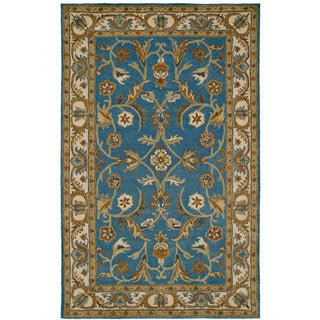 Paragon Blue/ Ivory Wool Rug (3'6 x 5'6)