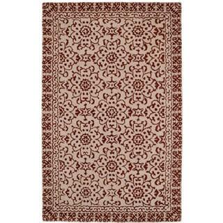 Paragon Chocolate/ Beige Wool Rug (3'6 x 5'6)