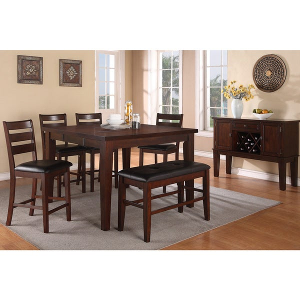 7 Piece Counter Height Dining Room Sets: Shop Lida 7-piece Antique Walnut Finished Counter Height