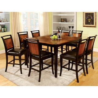 Lommel 9-piece Counter Height Dining Set in Acacia & Black Finish