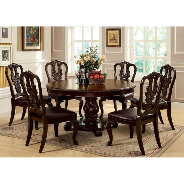 Loksa 7 piece Brown Cherry Round Dining Set Free Shipping Today Overstock