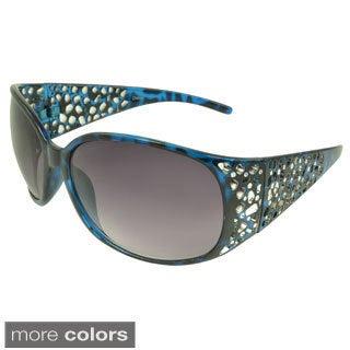EPIC Eyewear Women's 'Erin' Metallic Accent Shield Sunglasses