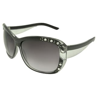 EPIC Eyewear Women's 'Megan' Black Rhinestone Detailed Shield Sunglasses
