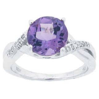 Meredith Leigh Sterling Silver Diamond Accent Amethyst Ring