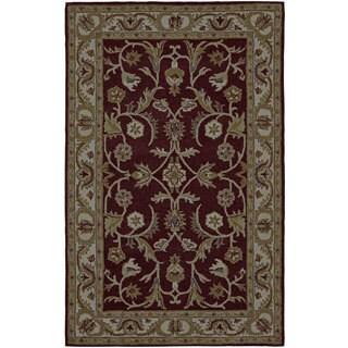 Paragon Burgundy/ Ivory Wool Rug (5' x 8')