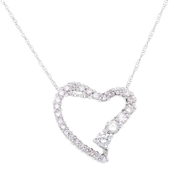 Diamond Heart Shaped Pendant Necklace 3/4ct TDW in 14k White Gold by SummerRose