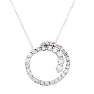 SummerRose 14k White Gold 1ct TDW White Diamond Graduating Pendant Necklace (G-H, SI1-SI2)