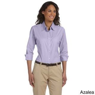Women's Three-quarter Sleeve Stretch Poplin Top (Option: S,Azalea)