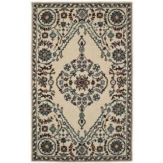 Paragon Ivory/ Blue Wool Rug (2' x 4')