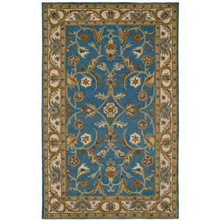 Paragon Blue/ Ivory Wool Rug (2' x 4')