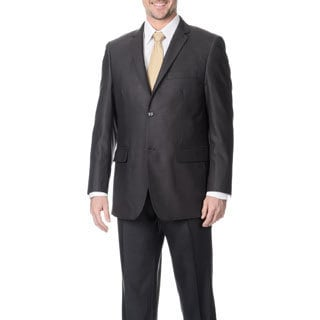 Angelo Rossi Men's Charcoal 2-button Tonal Stripe Micro Tech Suit