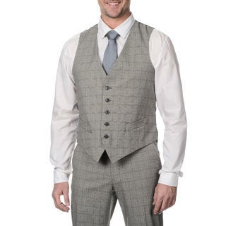 Perry Ellis Men's Grey Plaid Suit Separate Vest