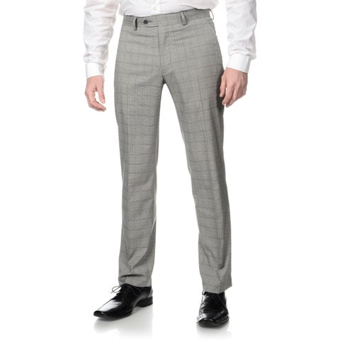 Perry Ellis Men's Slim Fit Grey Plaid Flat Front Dress Pants