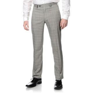 Perry Ellis Men's Slim Fit Grey Plaid Flat Front Dress Pants (Option: 36x32)