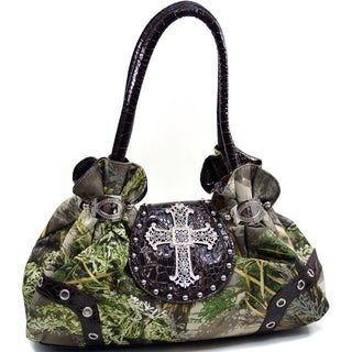 Realtree Rhinestone Cross Studded Camouflage Satchel