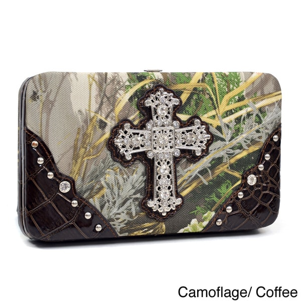 Realtree Rhinestone Cross Camouflage Framed Wallet