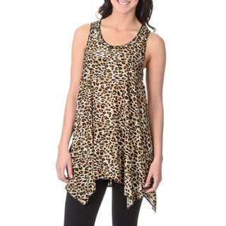 Sweet Juliet Women's Leopard Print Racer Back Lounge Tunic Top