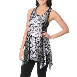 Sweet Juliet Women's Zebra Print Racer Back Lounge Tunic Top