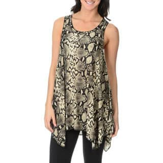 Sweet Juliet Women's Snake Print Racer Back Lounge Tunic Top|https://ak1.ostkcdn.com/images/products/9028444/Sweet-Juliet-Womens-Snake-Print-Racer-Back-Lounge-Tunic-Top-P16228476.jpg?impolicy=medium