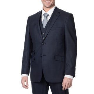 Perry Ellis Men's Slim Fit Navy Sharkskin Suit Separate Blazer