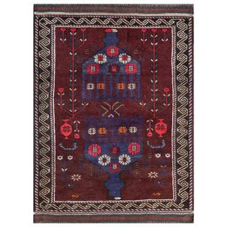 Herat Oriental Semi-antique Afghan Hand-knotted Tribal Balouchi Navy/ Green Wool Rug (2'10 x 4')