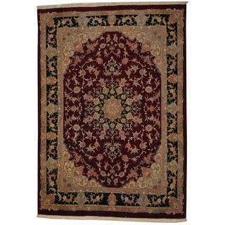 Herat Oriental Persian Hand-knotted Tabriz Red/ Navy Wool and Silk Rug (5'3 x 7'6)