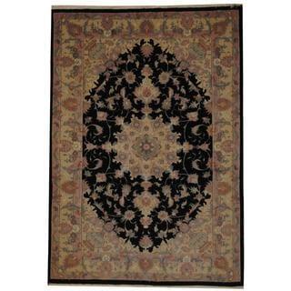 Herat Oriental Persian Hand-knotted Tabriz Black/ Ivory Wool Rug (5'2 x 7'4)