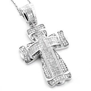 Luxurman 14k White Gold 2 1/3ct TDW Pave Diamond Cross Pendant