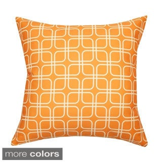 Handmade 20 x 20-inch Geometric-print Outdoor Throw Pillow (India)