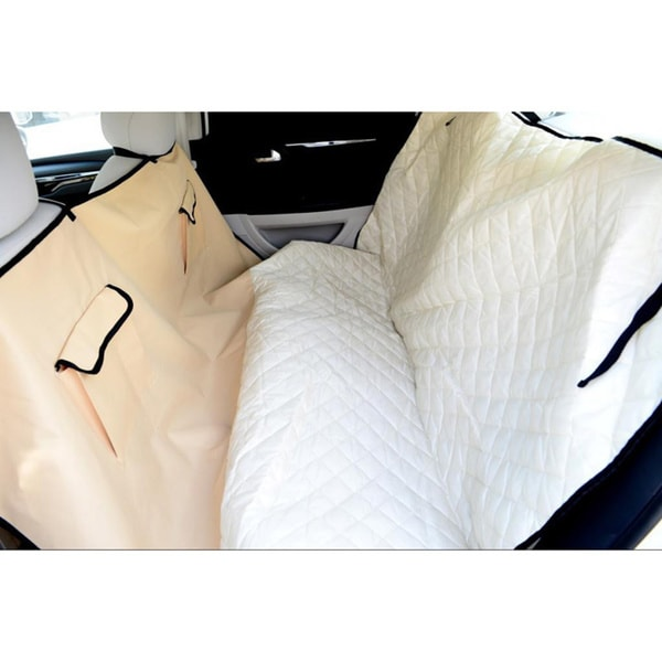 Beige Quilted Pet Car Seat Cover (57 x 57)