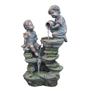Kelkay Children Playing at the Falls Resin Stone Fountain