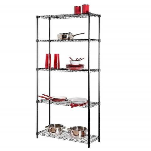 Honey-Can-Do SHF-01442 Adjustable Industrial Storage Shelving Unit, 200-Pounds Per Shelf, Black
