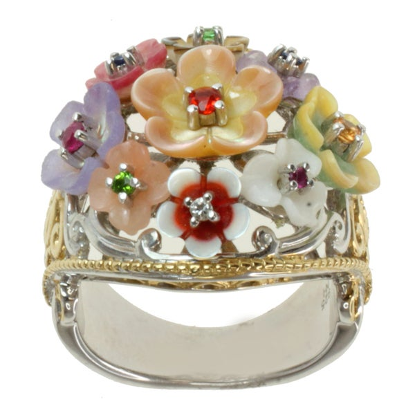 """Michael Valitutti Two-tone Carved Mother of Pearl and Multi-Gemstone """"Flowers"""" Ring"""
