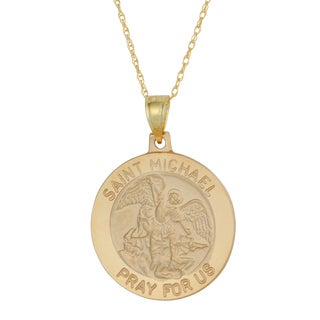 Fremada 14k Yellow Gold Saint Michael Medal Pendant with Delicate Rope Chain Necklace (18 inch)
