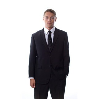 Martino Men's 'Wool Rich' Black Wool Blend Suit
