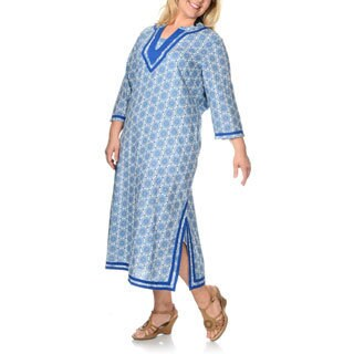 La Cera Women's Plus-size Blue Medallion Maxi Swim Cover-up