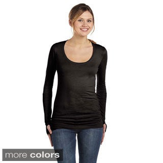 Women's Ribbed Long Sleeve Scoop Neck T-shirt