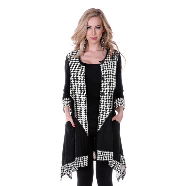 Firmiana Women's Houndstooth Long-sleeve Button-up Top